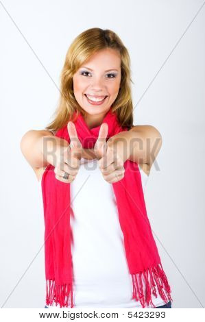 Portrait Of A Woman With Thumbs Up
