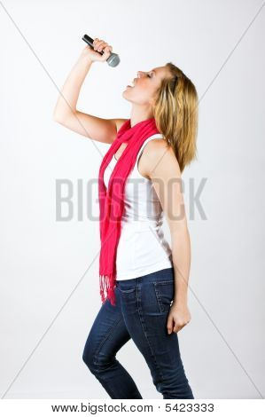 Singing Woman With A Microphone