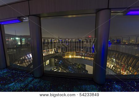 The Top Of Umeda Sky Building With Fluorescent Floor In Osaka Japan