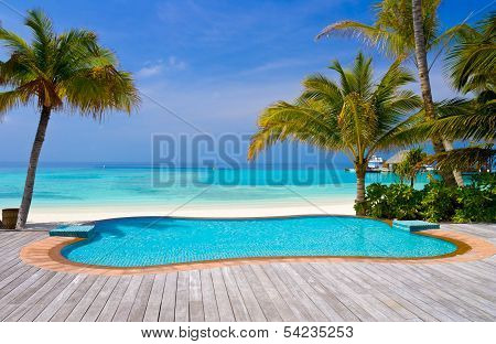 Pool On A Tropical Beach