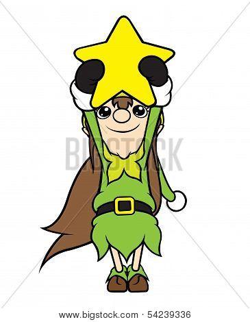 Christmas Elf Girl Holding Star