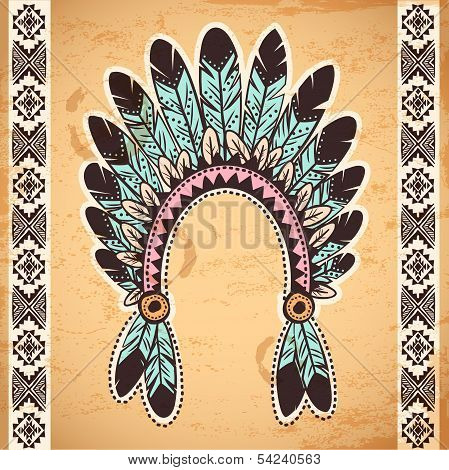 Tribal native American feather headband