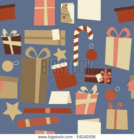 Christmas Decorations Seamless Pattern Blue
