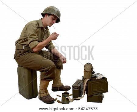 Young American Soldier  Light A Cigarette