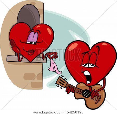 Heart Love Song Cartoon Illustration