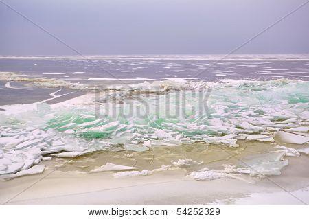 Pieces Of Shelf Ice On North Sea