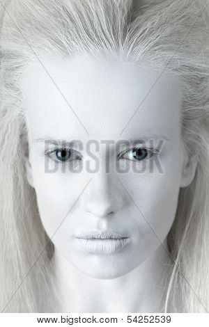 Fashion portrait of mysterious albino woman ghost poster