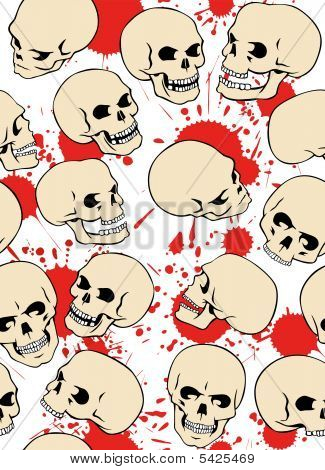 Seamless pattern with skulls and blood drops. poster