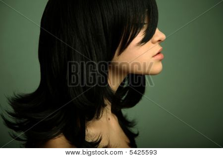 Elegant Girl With Black Hair