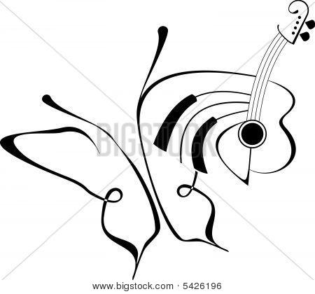 Butterfly Music Tattoo