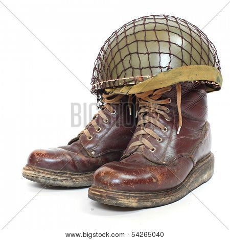 Retro military helmet and boots ( paratrooper's accessories) on a white background. poster