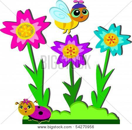 Cute Bees and Bright Flowers