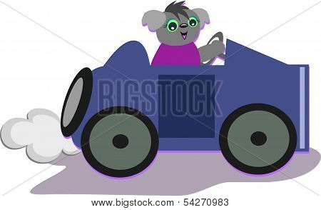 Koala Driving a Hot Rod Car