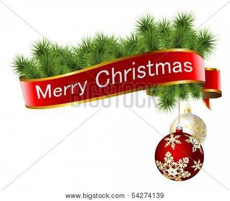 Illustration of Christmas decorations with ribbon and toys isolated on white background. Vector.