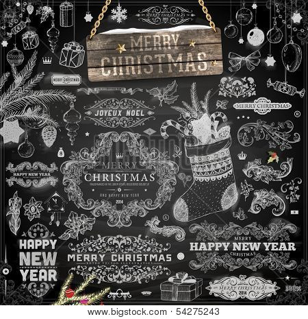 Christmas decoration collection | Set of calligraphic and typographic elements, frames, vintage labels. Ribbons, stickers, birds, tree branches, balls. Chalkboard design. Chalk texture.