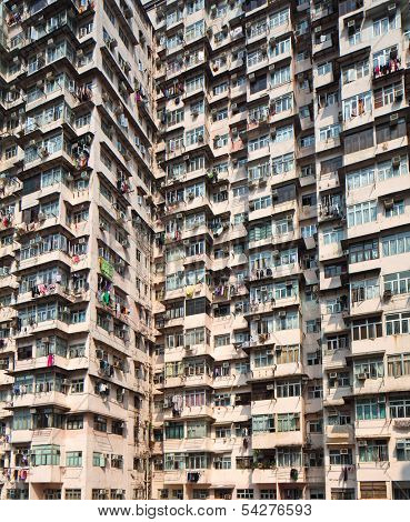 Overcrowded residential building in Hong Kong