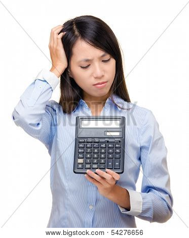 Asian woman feel sad and trouble with calculator