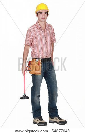 Plumber holding a plunger poster