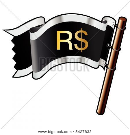 Brazilian Real Icon On Pirate Flag