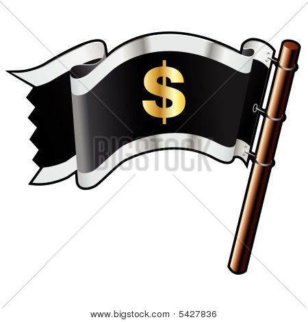 Dollar Sign On Pirate Flag