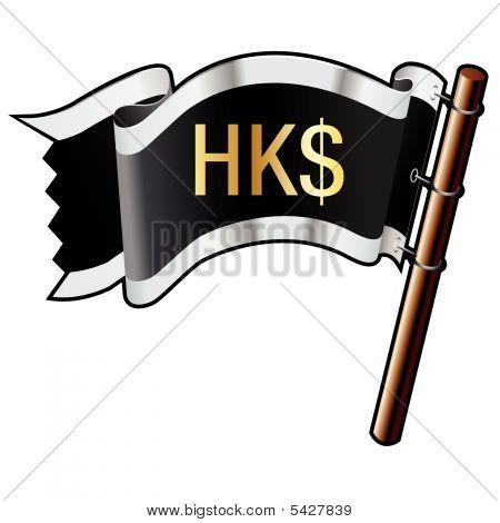 Hong Kong Dollar Icon On Pirate Flag