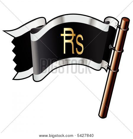 Indian Rupee Icon On Pirate Flag