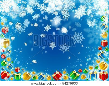 Gifts And Snowflakes Beautiful Blue Background