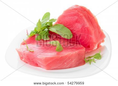 Tuna steaks with salad isolated on white background
