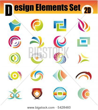 Colorful Set of 20 Design Elements with high contrast colors poster