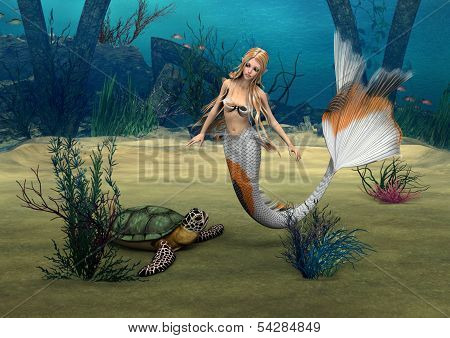 3D digital render of a cute mermaid and a turtle on blue fantasy ocean background poster