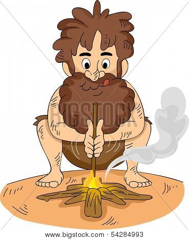 Illustration of a Stranded Man Making a Fire