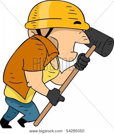 Illustration of a Construction Worker Running While Holding a Sledgehammer