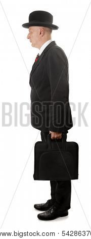 Man with hat and briefcase is standing