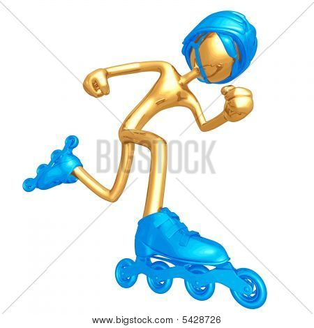 3D Vector Gold Guy Roller Skating