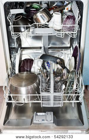 Dirty Cookware In Kitchen Dishwasher