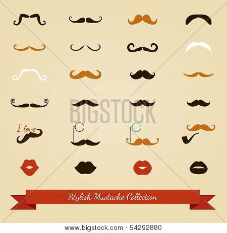 Vector colorful mustache icon set
