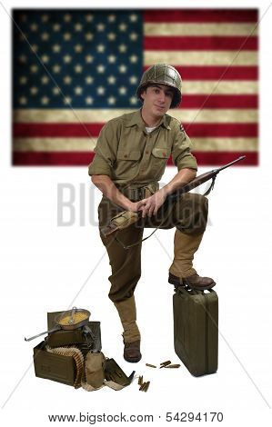 American Soldier With His Carbine M1