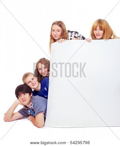 Cheerful group of college friends