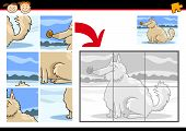 Cartoon Illustration of Education Jigsaw Puzzle Game for Preschool Children with Funny Shaggy Dog poster