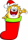 Cartoon illustration of a cat inside a stocking while waving. poster