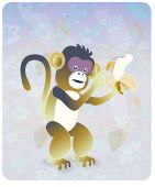 A cute little monkey holding a delicious banana while smiling poster