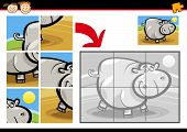 Cartoon Illustration of Education Jigsaw Puzzle Game for Preschool Children with Funny Hippo poster