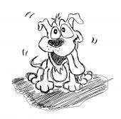 Fantasy Sketch of lovely Dog black and white poster