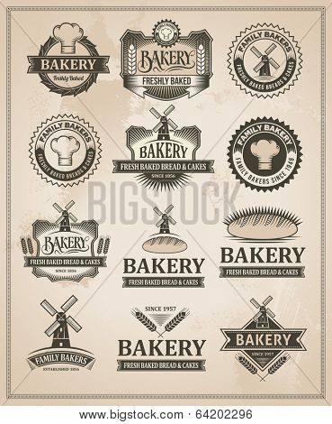 Vintage Retro Bakery Label Set - Editable Vector Design