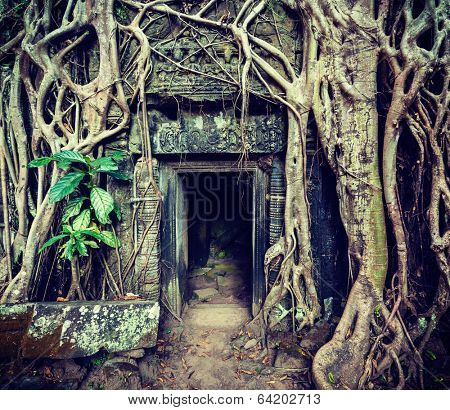 Vintage retro effect filtered hipster style travel image of ancient stone door and tree roots, Ta Prohm temple ruins, Angkor, Cambodia