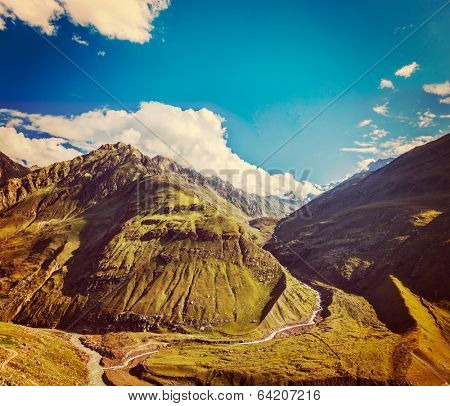 Vintage retro effect filtered hipster style travel image of Himalayan valley in Himalayas. Lahaul valley, Himachal Pradesh, India