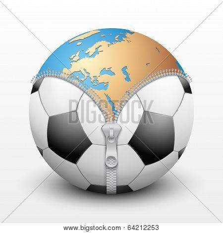 soccer ball inside Planet Earth
