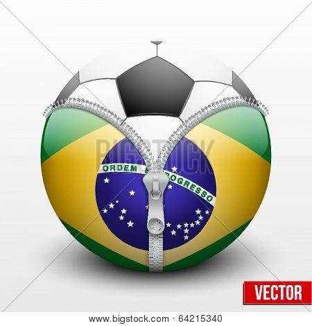 Brazil symbol inside a Soccer ball