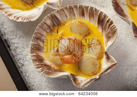 Shrimps And Scallops In Saffron Sauce