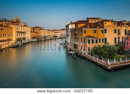 View On Grand Canal From Accademia Bridge At Sunrise, Venice, Italy